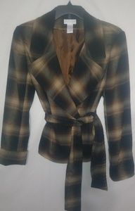 Worthington Gold Black Plaid Jacket Sz 12